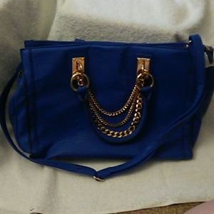 Just Fab Blue tote w goldtone chain hardware